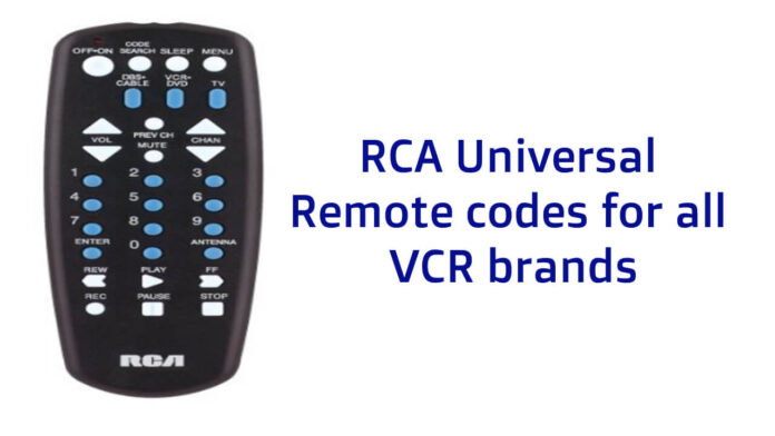 RCA Universal Remote codes for all VCR brands